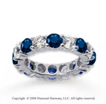 5 Carat Blue Sapphire and Diamond 14k White Gold Eternity Band