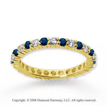 3/4 Carat Blue Sapphire and Diamond 14k Yellow Gold Eternity Band