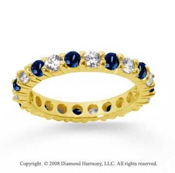 2 Carat Blue Sapphire and Diamond 14k Yellow Gold Eternity Band
