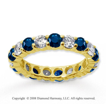 3 Carat Blue Sapphire and Diamond 18k Y Gold Eternity Band