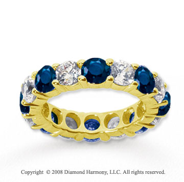5 Carat Blue Sapphire and Diamond 18k Y Gold Eternity Band