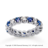2 1/2 Carat Blue Sapphire and Diamond 14k White Gold Eternity Band