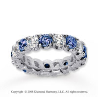 4 1/2 Carat Blue Sapphire and Diamond 14k White Gold Eternity Band