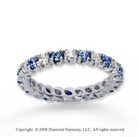 1 Carat Blue Sapphire and Diamond 18k W Gold Eternity Band