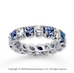 3 1/2 Carat Blue Sapphire and Diamond 18k W Gold Eternity Band