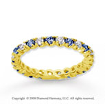 3/4 Carat Blue Sapphire and Diamond 18k Y Gold Eternity Band