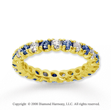 1 Carat Blue Sapphire and Diamond 18k Y Gold Eternity Band