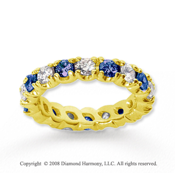 2 1/2 Carat Blue Sapphire and Diamond 18k Y Gold Eternity Band