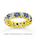 4 1/2 Carat Blue Sapphire and Diamond 18k Y Gold Eternity Band