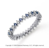 3/5 Carat Blue Sapphire and Diamond Platinum Eternity Band
