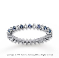 3/5 Carat Blue Sapphire and Diamond 14k White Gold Eternity Band