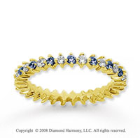 3/5 Carat Blue Sapphire and Diamond 14k Yellow Gold Eternity Band