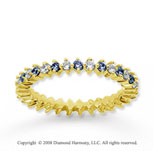 3/5 Carat Blue Sapphire and Diamond 18k Y Gold Eternity Band
