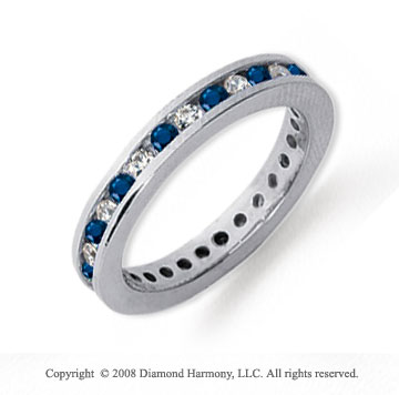 1/2 Carat Blue Sapphire and Diamond Platinum Eternity Band