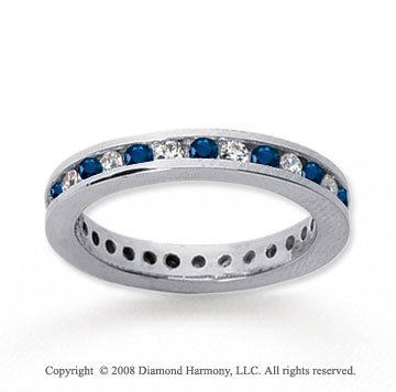 1/2 Carat Blue Sapphire and Diamond 18k W Gold Eternity Band