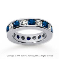 3 Carat Blue Sapphire and Diamond 18k W Gold Eternity Band