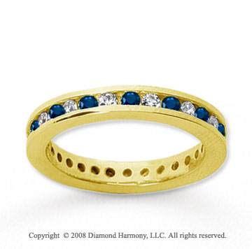 1/2 Carat Blue Sapphire and Diamond 14k Yellow Gold Eternity Band