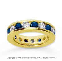 3 1/2 Carat Blue Sapphire and Diamond 14k Yellow Gold Eternity Band