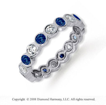 1 Carat Blue Sapphire and Diamond Platinum Eternity Band