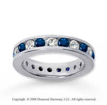 2 1/2 Carat Blue Sapphire and Diamond 18k W Gold Eternity Band