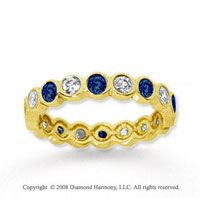 1 Carat Blue Sapphire and Diamond 14k Yellow Gold Eternity Band