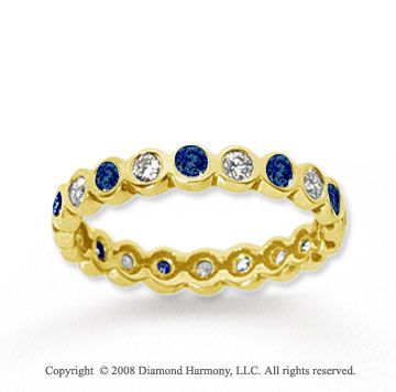 1/2 Carat Blue Sapphire and Diamond 18k Y Gold Eternity Band