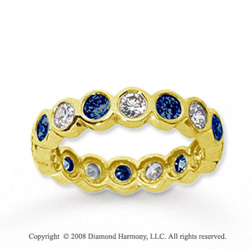 1 1/2 Carat Blue Sapphire and Diamond 18k Y Gold Eternity Band