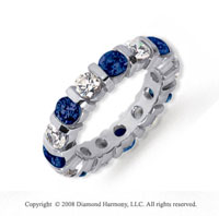 3 Carat Blue Sapphire and Diamond Platinum Eternity Band