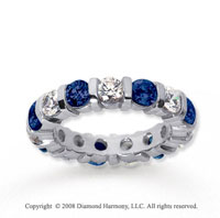 3 Carat Blue Sapphire and Diamond 14k White Gold Eternity Band