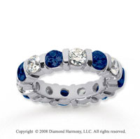4 Carat Blue Sapphire and Diamond 14k White Gold Eternity Band