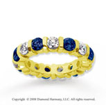 3 Carat Blue Sapphire and Diamond 14k Yellow Gold Eternity Band