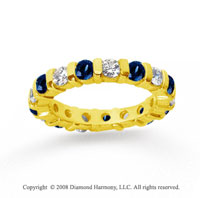 2 Carat Blue Sapphire and Diamond 18k Y Gold Eternity Band