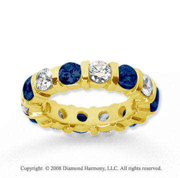 4 Carat Blue Sapphire and Diamond 18k Y Gold Eternity Band