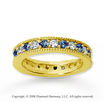 1 1/4 Carat Blue Sapphire and Diamond 14k Yellow Gold Eternity Band