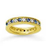 1 1/4 Carat Blue Sapphire and Diamond 18k Y Gold Eternity Band