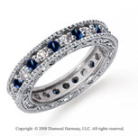 1 1/4 Carat Blue Sapphire and Diamond Platinum Eternity Band