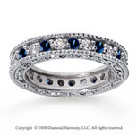 1 1/4 Carat Blue Sapphire and Diamond 14k White Gold Eternity Band