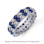 4 1/2 Carat Blue Sapphire and Diamond Platinum Eternity Band
