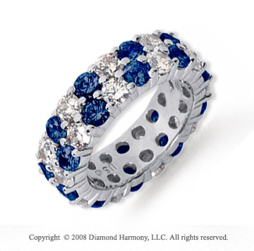 5 1/2 Carat Blue Sapphire and Diamond Platinum Eternity Band