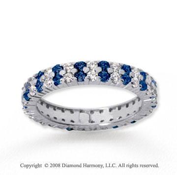 1 1/2 Carat Blue Sapphire and Diamond 14k White Gold Eternity Band