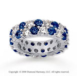 3 1/2 Carat Blue Sapphire and Diamond 14k White Gold Eternity Band