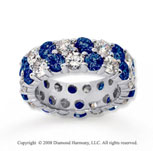 6 1/2 Carat Blue Sapphire and Diamond 14k White Gold Eternity Band