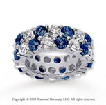 8 1/2 Carat Blue Sapphire and Diamond 14k White Gold Eternity Band