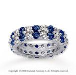 4 1/2 Carat Blue Sapphire and Diamond 18k W Gold Eternity Band