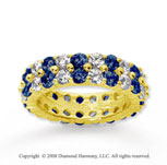4 1/2 Carat Blue Sapphire and Diamond 14k Yellow Gold Eternity Band