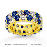 6 1/2 Carat Blue Sapphire and Diamond 14k Yellow Gold Eternity Band