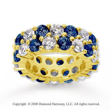 8 1/2 Carat Blue Sapphire and Diamond 14k Yellow Gold Eternity Band