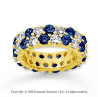 3 1/2 Carat Blue Sapphire and Diamond 18k Y Gold Eternity Band