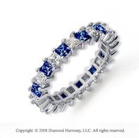 2 1/2 Carat Blue Sapphire and Diamond Platinum Eternity Band