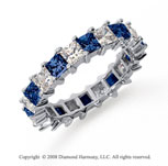 3 1/2 Carat Blue Sapphire and Diamond Platinum Eternity Band